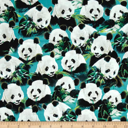 Quilting Treasures Imperial Panda Packed Pandas Teal