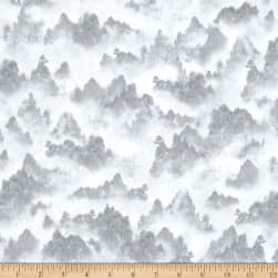 Quilting Treasures Imperial Panda Tonal Mountains Gray Fabric