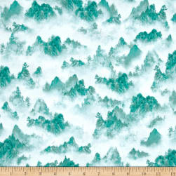 Quilting Treasures Imperial Panda Tonal Mountains Teal
