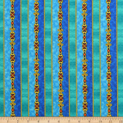 QT Fabrics The Ten Commandments Stripe Blue Fabric