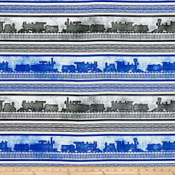 Full Steam Ahead Train Stripe Blue Fabric