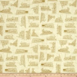 Full Steam Ahead Train Toile Light Oatmeal