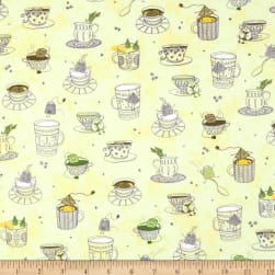 QT Fabrics Tea-RRIFIC Teacups Light Green Fabric