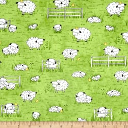 Sheeps & Peeps Grazing Sheep Green Fabric