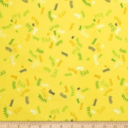 QT Fabrics Sheeps & Peeps BAAAAA's Dark Yellow