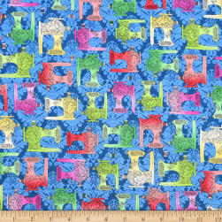 QT Fabrics Fabric Follies Sewing Machines Dark Blue