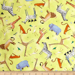The Migration Animal Toss Light Lime Fabric