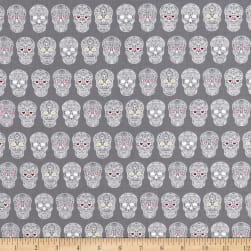 Sweet Rebellion Sugar Skulls Gray Fabric