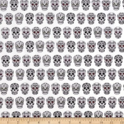Sweet Rebellion Sugar Skulls White Fabric