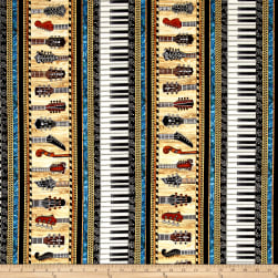 QT Fabrics Encore Instruments Piano Keys & Guitar