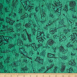 Encore Instrument Toile Green Fabric