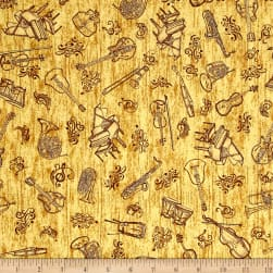 QT Fabrics Encore Instruments Toile Dark Butterscotch Fabric