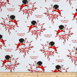 QT Fabrics Kick Heart Disease Superlady White Fabric