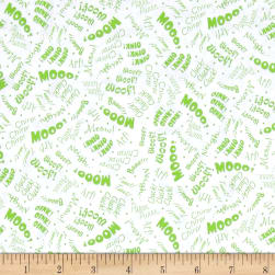Animal Farm Animal Sounds White/Green Fabric