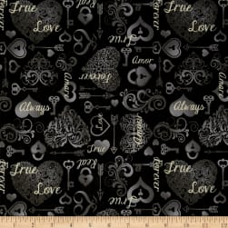 I Do Hearts & Keys Black Fabric