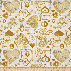 QT Fabrics I Do Hearts & Keys Champagne