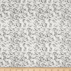 QT Fabrics I Do Roses Gray Fabric