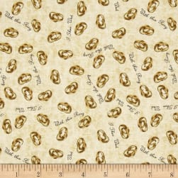 QT Fabrics I Do Wedding Rings Champagne Fabric