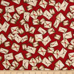 Letters From The Heart Envelopes Cranberry Fabric