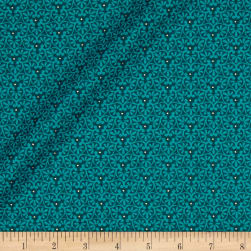 Yuna Metallic Flower Geo Teal Fabric