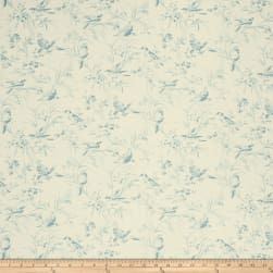 French General Aviary Toile Linen La Mer Fabric