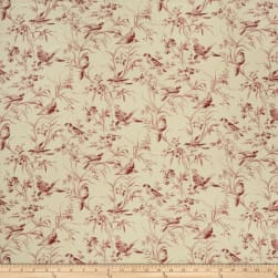 French General Aviary Toile Linen Rouge Fabric