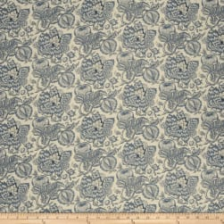 French General Bordeaux Linen Indigo Fabric