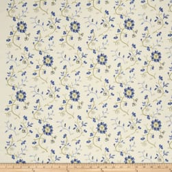 French General Emile Embroidered Linen Bleu Fabric
