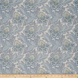 French General Fleur Indienne Jacquard Bleu Fabric