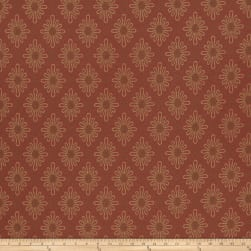 French General Paquerette Jacquard Rural Red Fabric