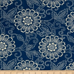 French General Tournesal Linen Indigo Fabric