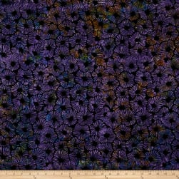 Bali Batiks Handpaint Striped Floral Black Grape Fabric