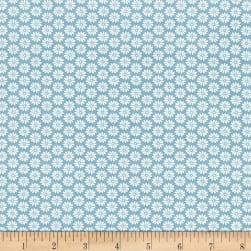 Antique Garden Daisy Blue Fabric
