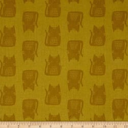 Maker Maker Linen Blend Cats Yellow Fabric