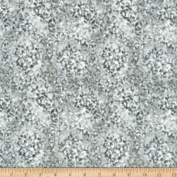 Kaufman Fusions Scroll Metallic Grey Fabric