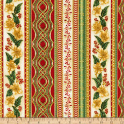 Kaufman Holiday Flourish Metallic Stripe Holiday Fabric