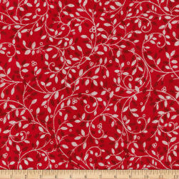 Kaufman Holiday Flourish Metallic Small Leaves Scarlet