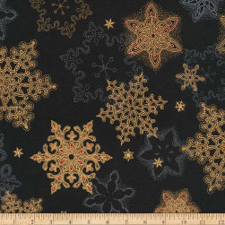 Kaufman Holiday Flourish Metallic Snowflakes Black Fabric