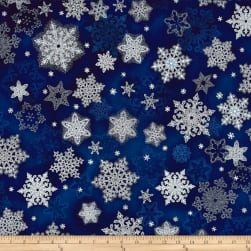 Kaufman Holiday Flourish Metallic Snowflakes Indigo Fabric