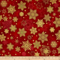 Kaufman Holiday Flourish Metallic Snowflakes Crimson