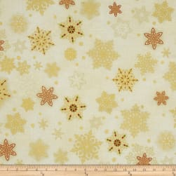 Kaufman Holiday Flourish Metallic Snowflakes Holiday