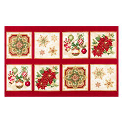 "Kaufman Holiday Flourish Metallic 24"" Block Panel Holiday"