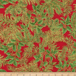Kaufman Holiday Flourish Metallic Spray Crimson Fabric