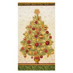 Kaufman Winter Grandeur Metallic Tree 23.5'' Panel Holiday Fabric