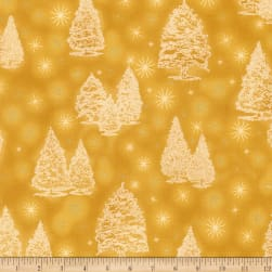 Kaufman Winter Grandeur Metallic Trees Gold Fabric