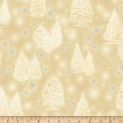 Kaufman Winter Grandeur Metallic Trees Champagne Fabric