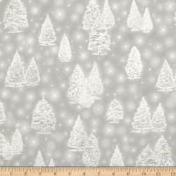 Kaufman Winter Grandeur Metallic Trees Silver Fabric