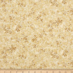 Kaufman Winter Grandeur Metallic Scroll Champagne