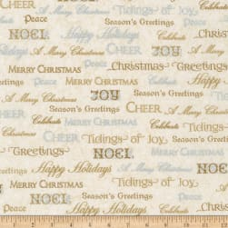 Kaufman Winter Grandeur Metallic Words Champagne