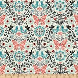 Papillon Allover Teal Fabric